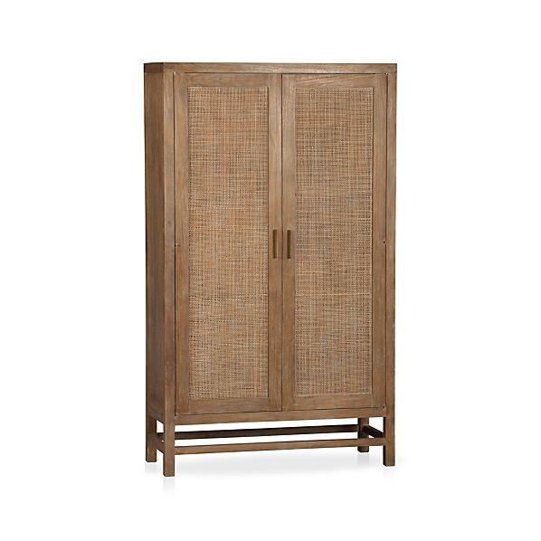 Crate & Barrel Blake Grey Wash 2-Door Cabinet
