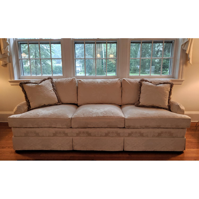 Henredon Ivory Brocade Overstuffed Sofa - image-1