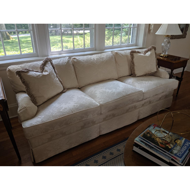 Henredon Ivory Brocade Overstuffed Sofa - image-3
