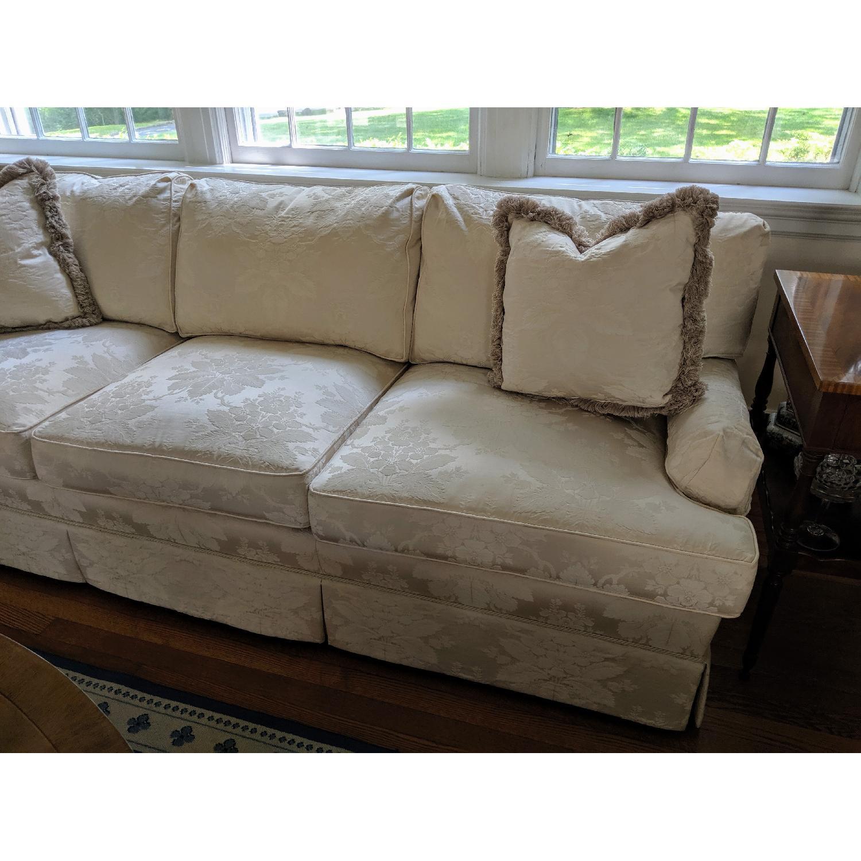 Henredon Ivory Brocade Overstuffed Sofa - image-2