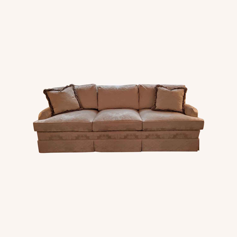 Henredon Ivory Brocade Overstuffed Sofa - image-0