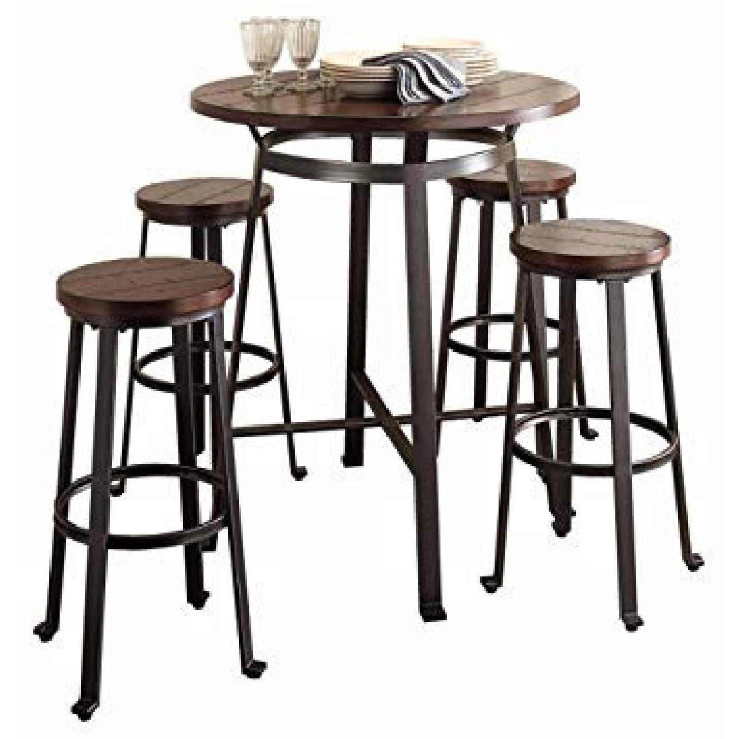 Ashley Challiman Pub Height Dining Table w/ 4 Stools - image-0