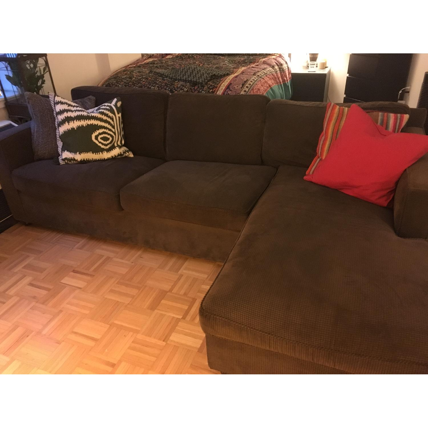 Swell Crate Barrel Chocolate Corduroy Chaise Sectional Sofa Gamerscity Chair Design For Home Gamerscityorg