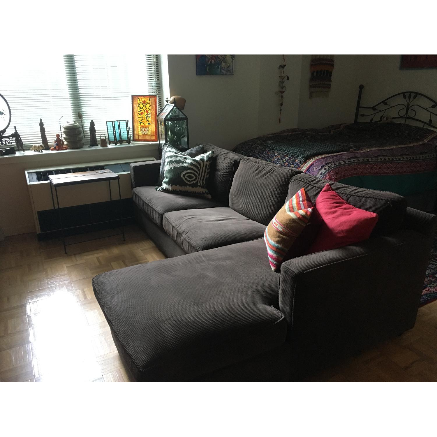 Fine Crate Barrel Chocolate Corduroy Chaise Sectional Sofa Gamerscity Chair Design For Home Gamerscityorg