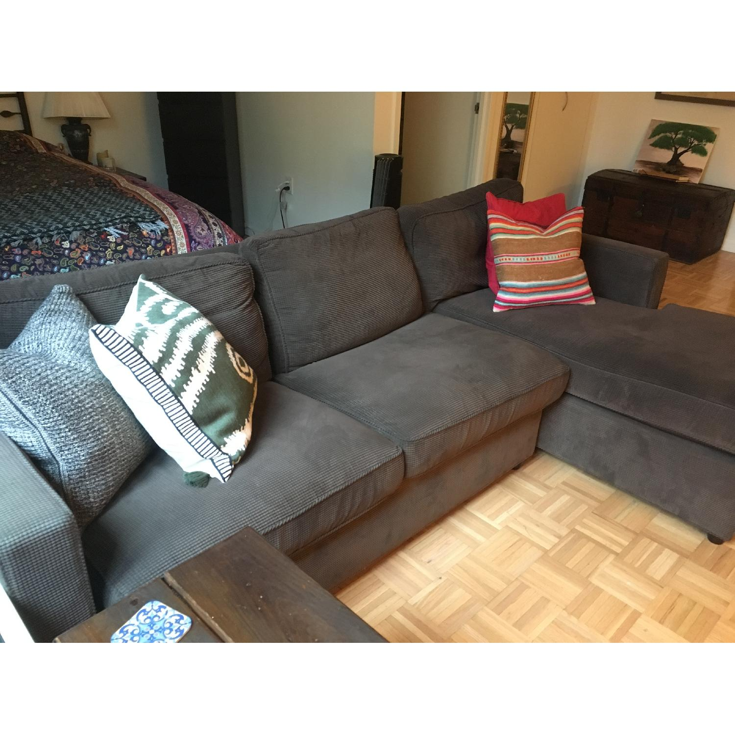 Fabulous Crate Barrel Chocolate Corduroy Chaise Sectional Sofa Gamerscity Chair Design For Home Gamerscityorg