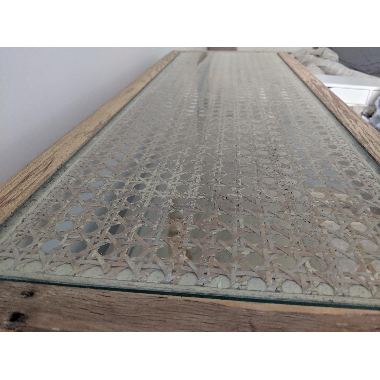 Tan/Mustard Sideboard w/ Glass Top - image-5