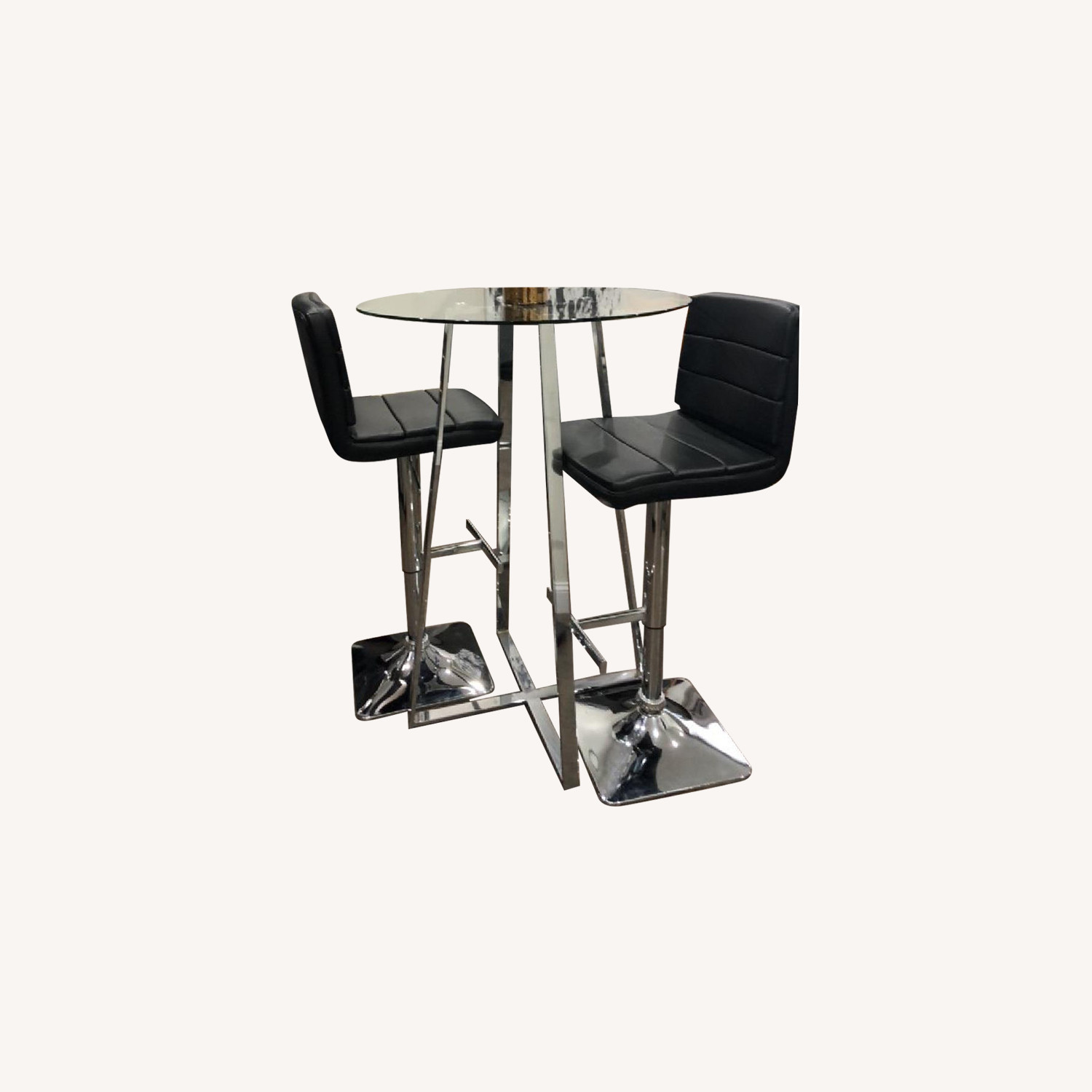 Bar Height Table w/ 2 Faux Leather Stools