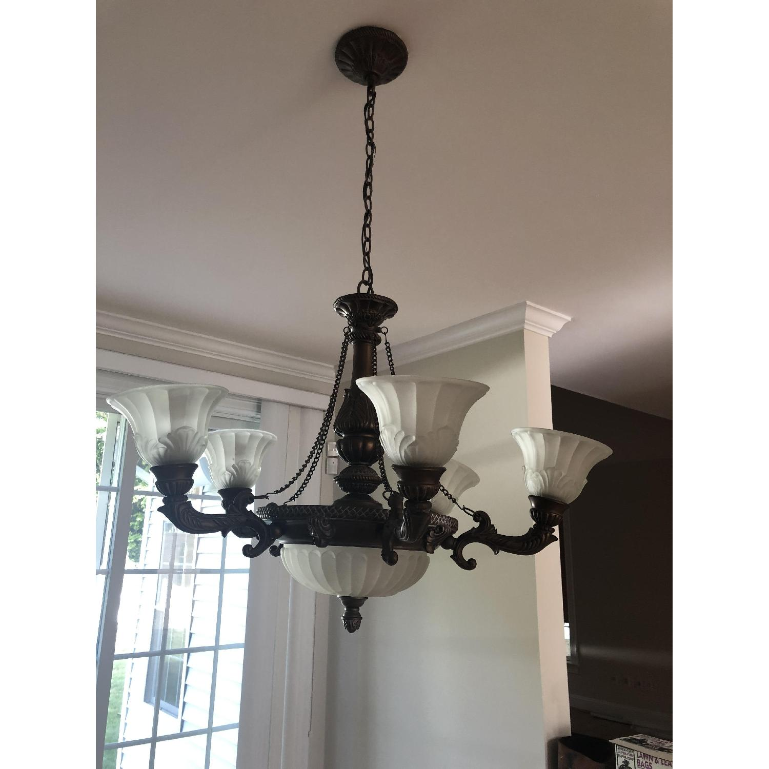 8-Light Traditional Antique Bronze Chandelier - image-1