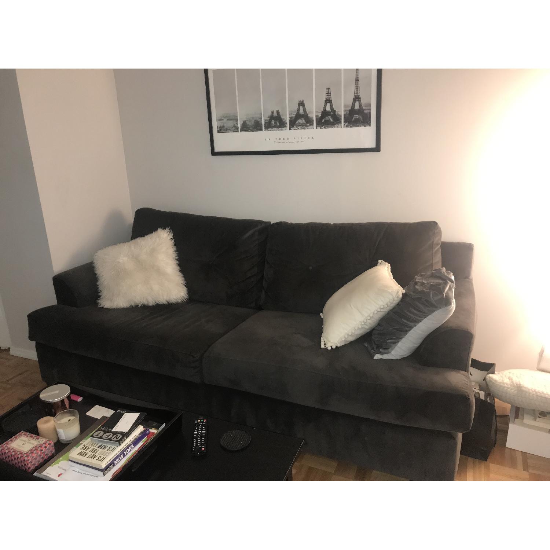 Jennifer Convertibles Grey Suede Sleeper Sofa - AptDeco