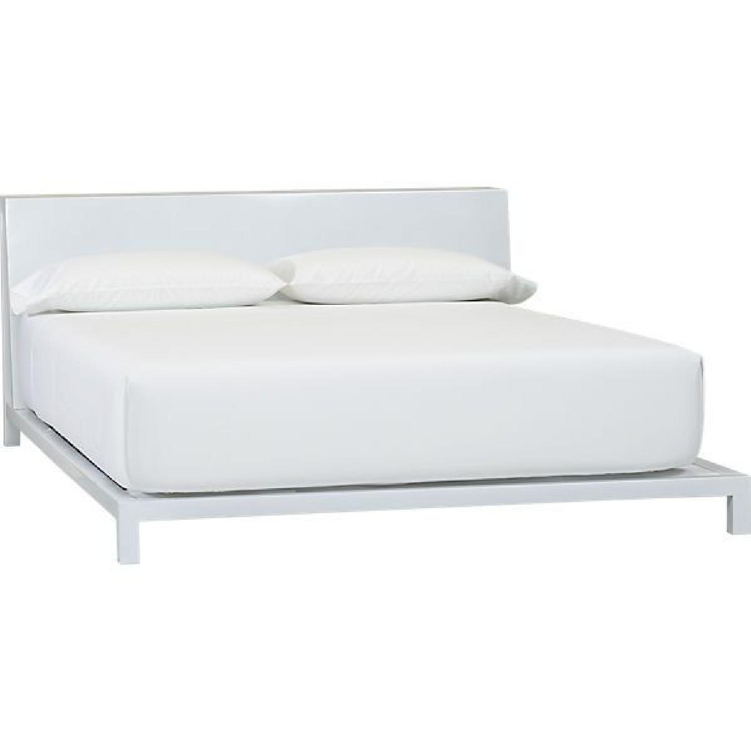 CB2 White Queen Bed Frame w/ Headboard - image-0