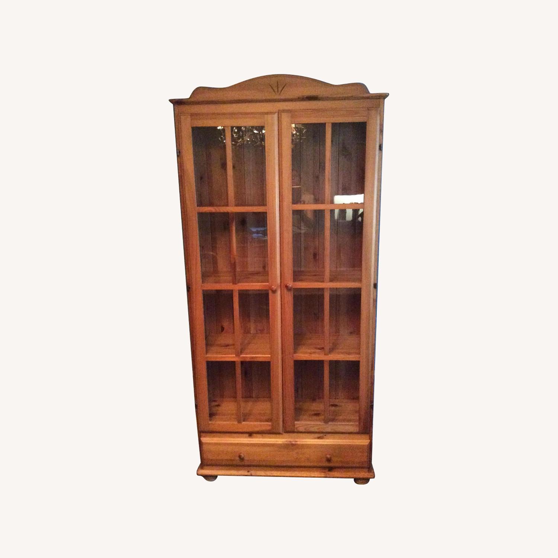 Ikea Wood/Glass Tall China Cabinet