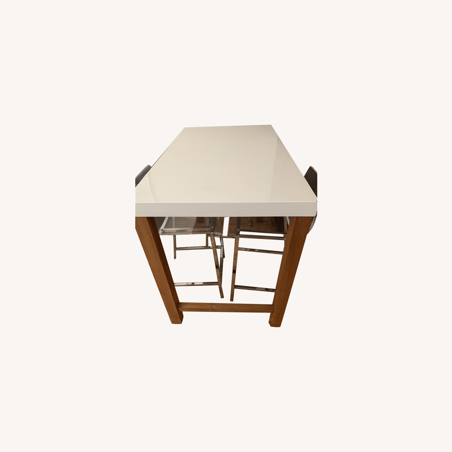 Bar Height Parsons Dining Table w/ 3 CB2 Acrylic Chairs