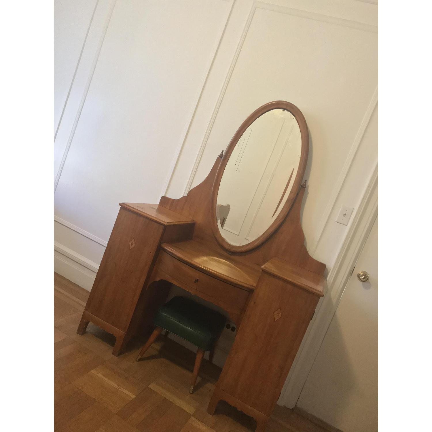 20th C Danish Pearwood Vanity w/ Mirror & Marquetry Inlay - image-1