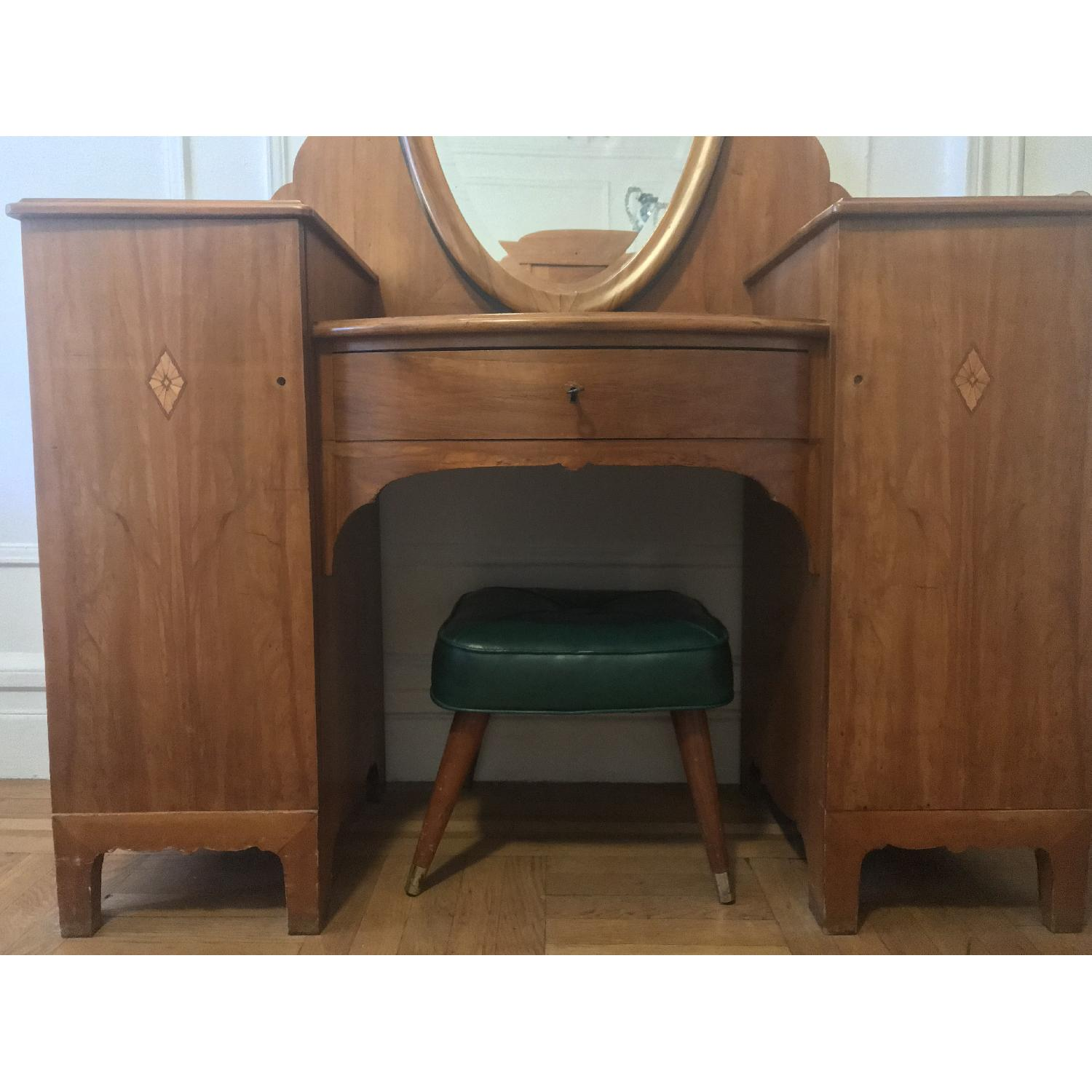 20th C Danish Pearwood Vanity w/ Mirror & Marquetry Inlay - image-3