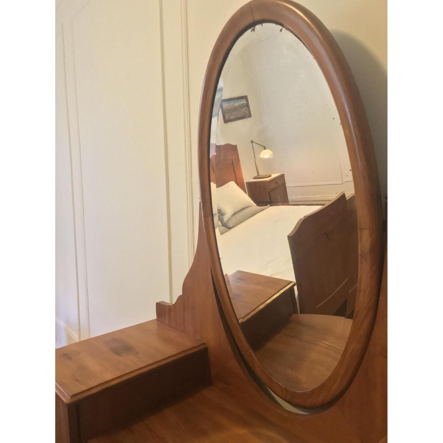 20th C Danish Pearwood Vanity w/ Mirror & Marquetry Inlay - image-2