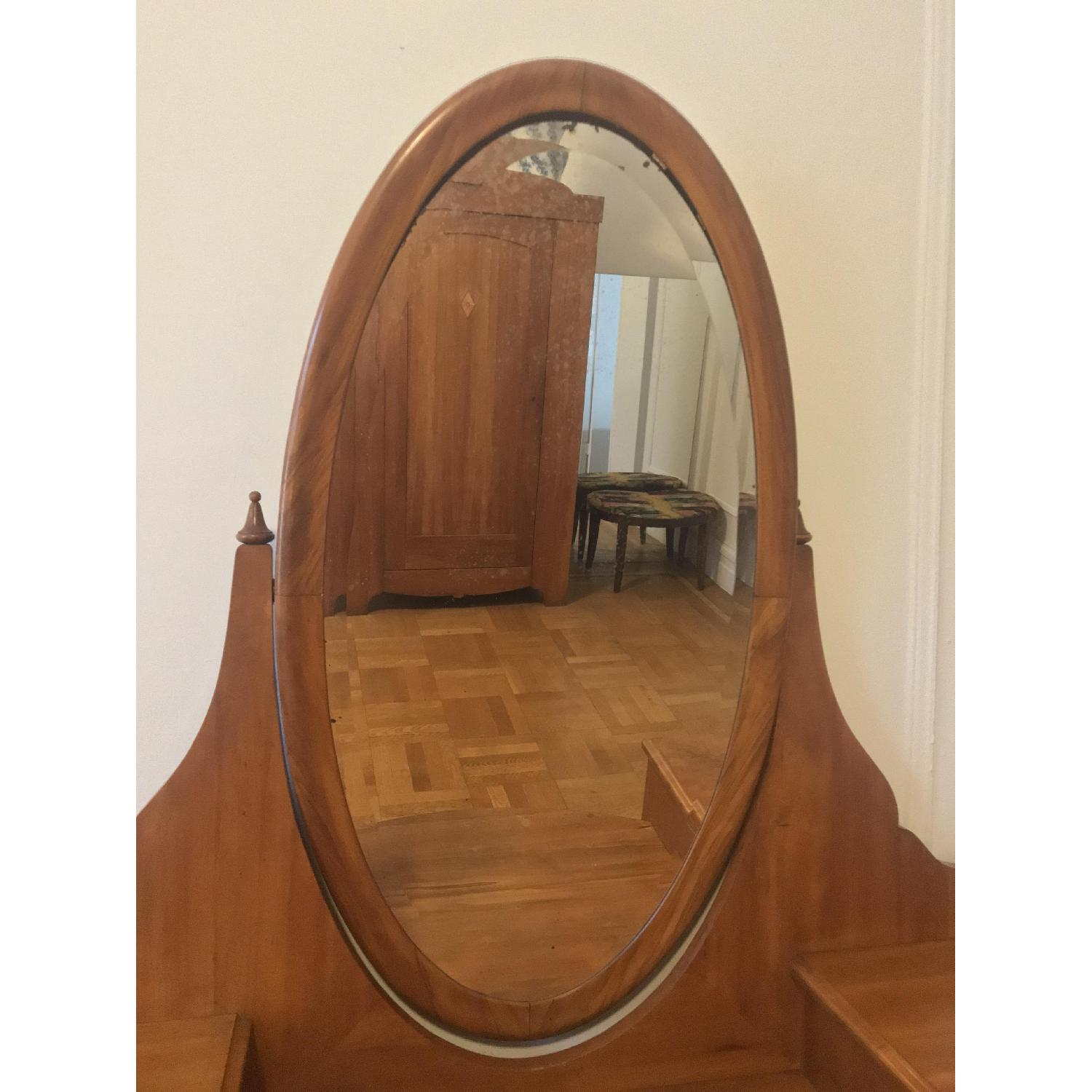20th C Danish Pearwood Vanity w/ Mirror & Marquetry Inlay - image-4