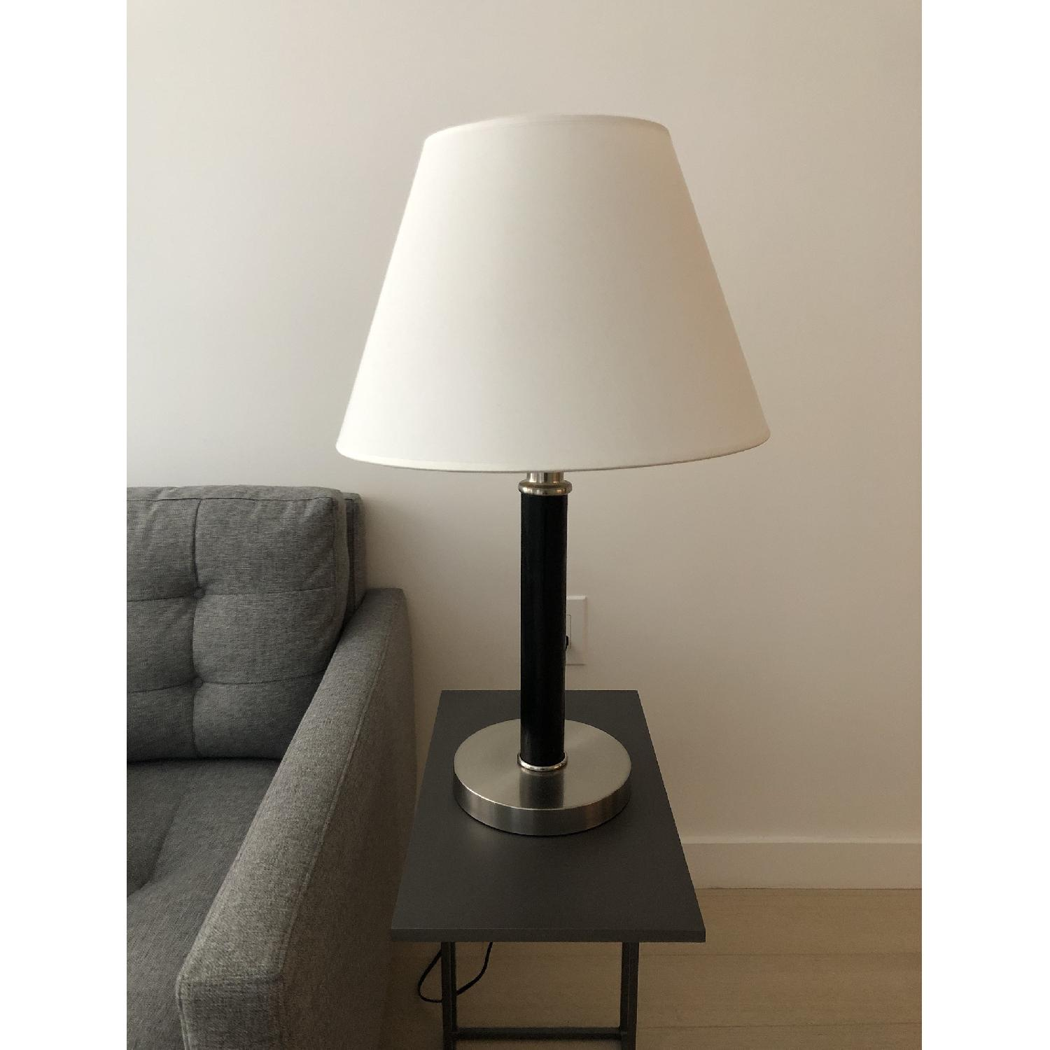 Ethan Allen Chrome Table Lamp in Wood Finish - image-1