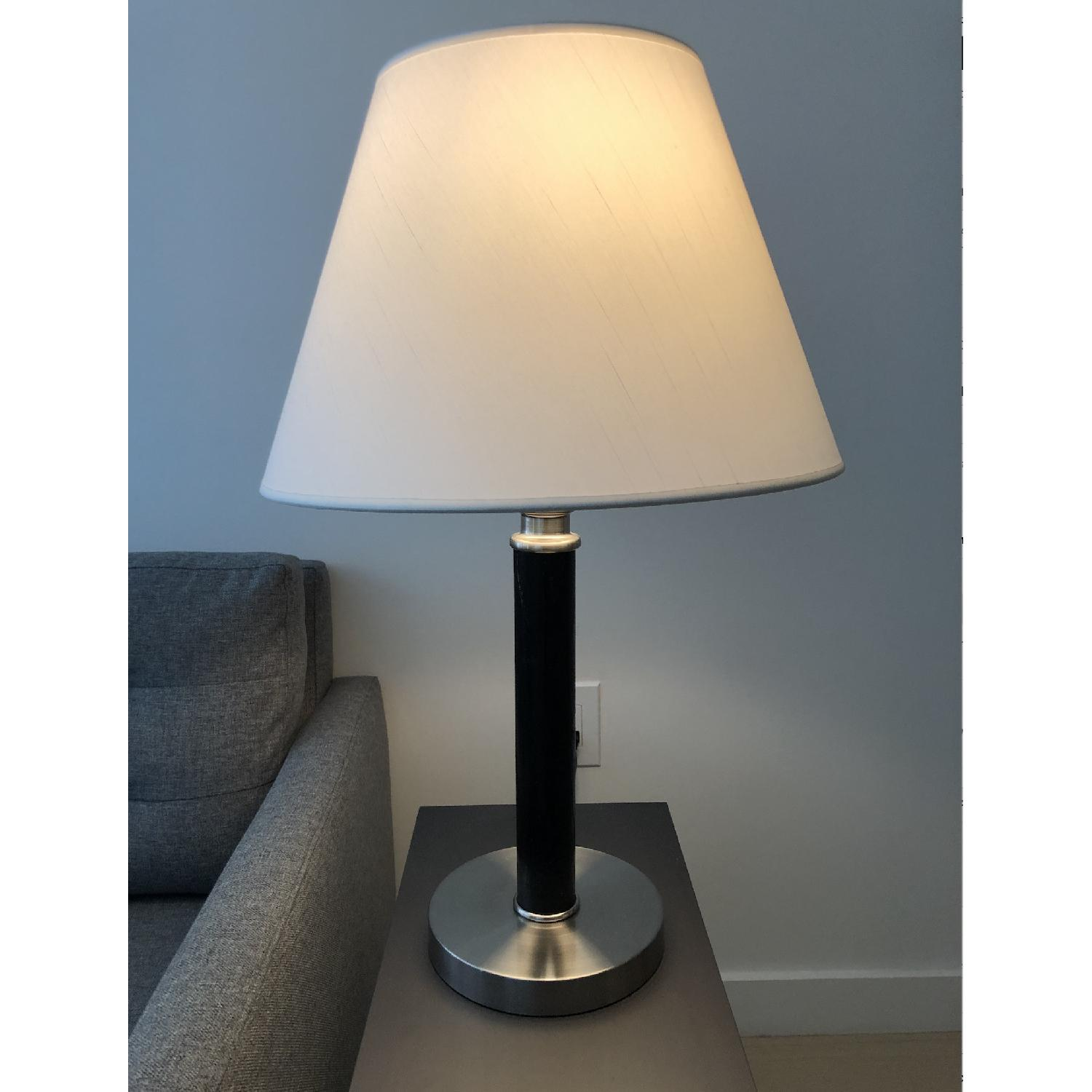 Ethan Allen Chrome Table Lamp in Wood Finish - image-3