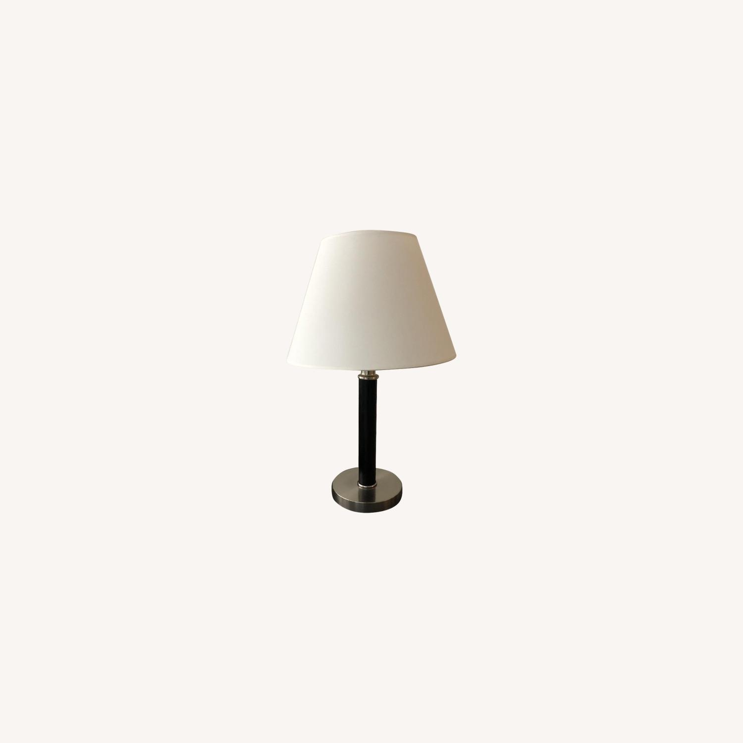 Ethan Allen Chrome Table Lamp in Wood Finish - image-0