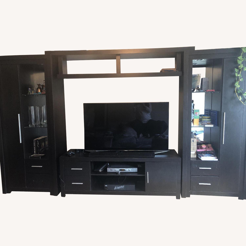 Modern Dark Wood Wall Unit - image-0