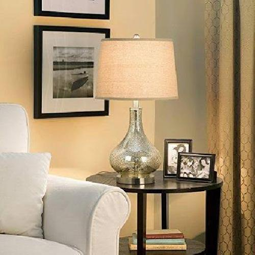 Used Mercury Glass Gourd Tables Lamp w/ Linen Shades for sale on AptDeco