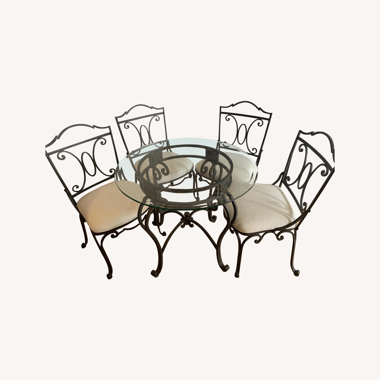 Iron Circular Glass Top Table Set w/ 4 Chairs