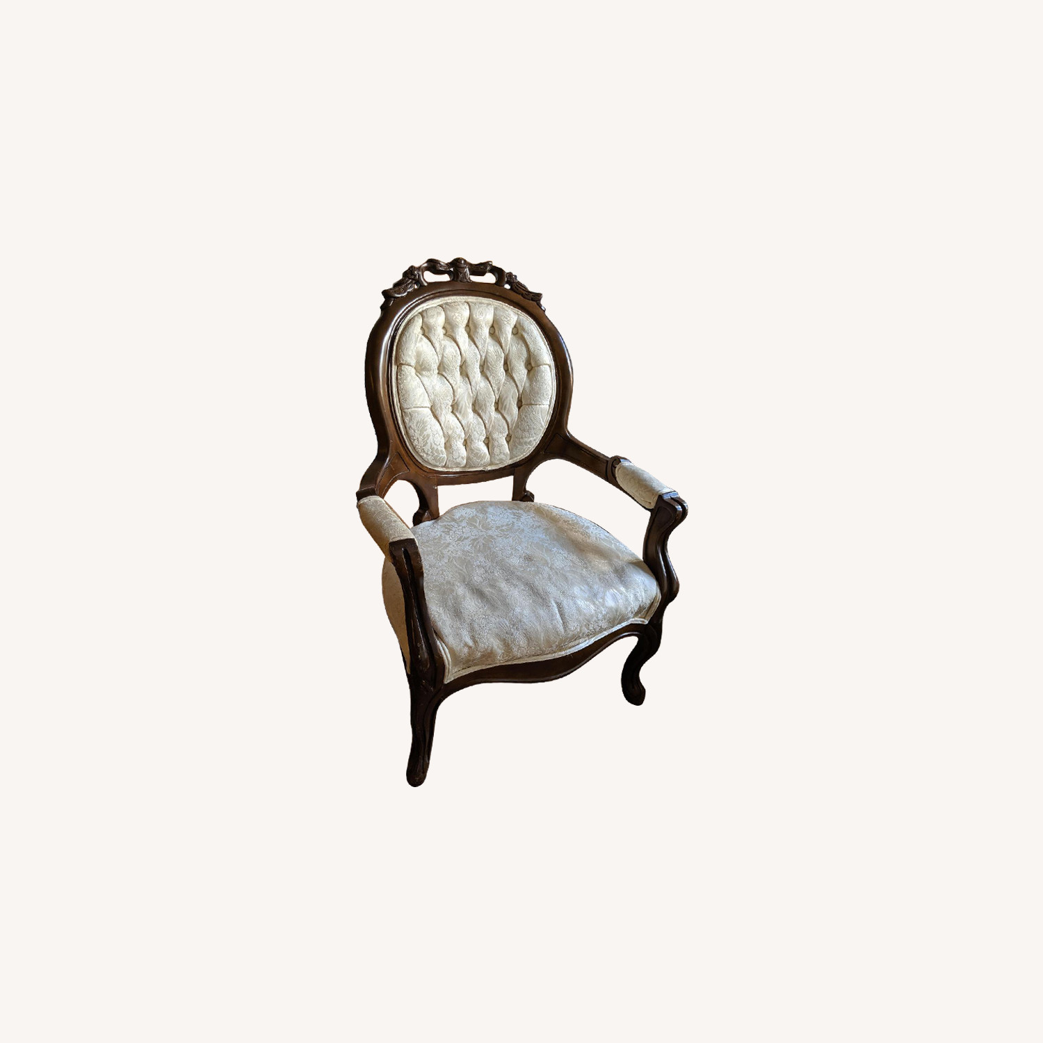Antique Wooden & White Floral Upholsteed Chairs