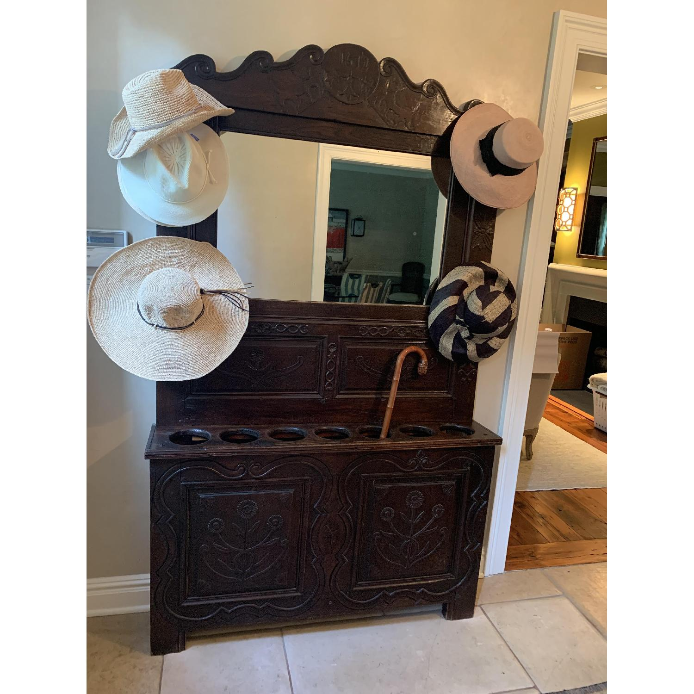 ABC Home Antique Entryway Mirrored Coat Rack & Umbrella Sand - image-5