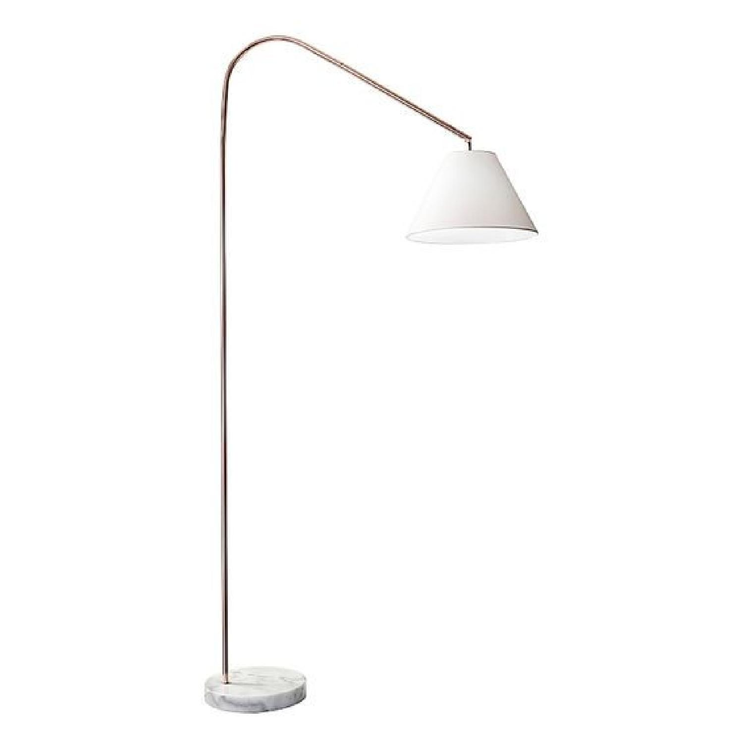 Adesso Willa Arc Floor Lamp In Copper W Linen Shade Aptdeco
