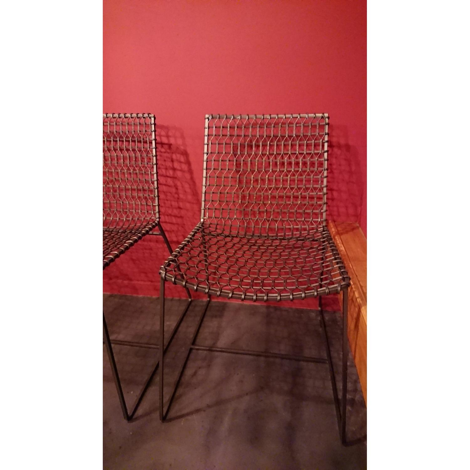 Crate & Barrel Tig Metal Dining Chairs - image-1
