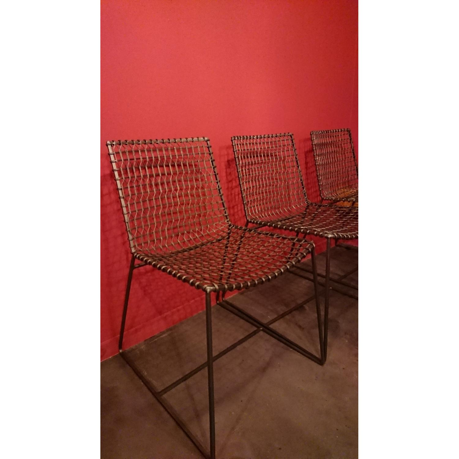 Crate & Barrel Tig Metal Dining Chairs - image-3