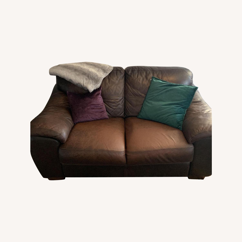 Leather Sofa + Armchair & Ottoman