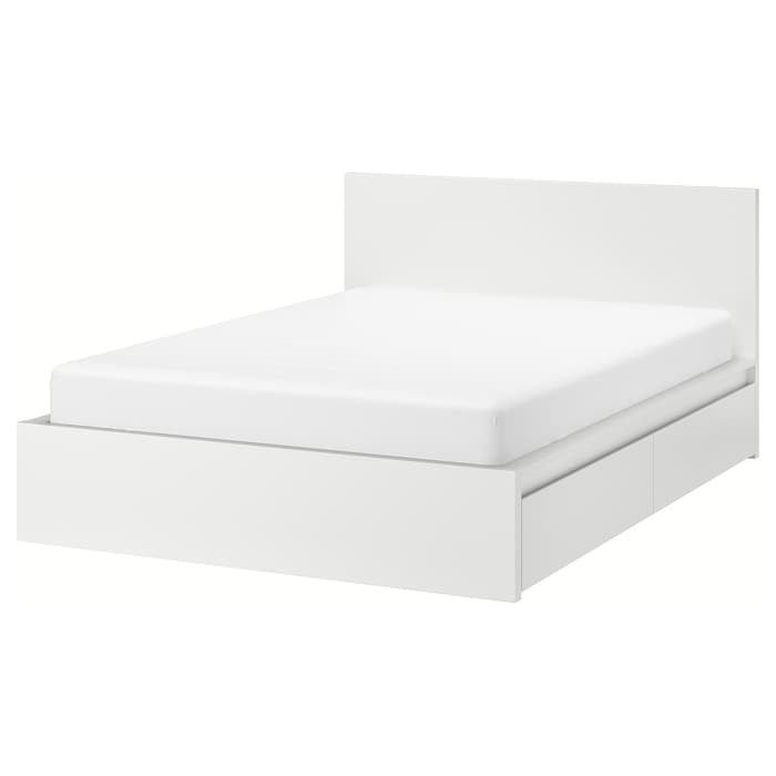 IKEA Malm White Full Bed Frame w/ 2 rolling drawers