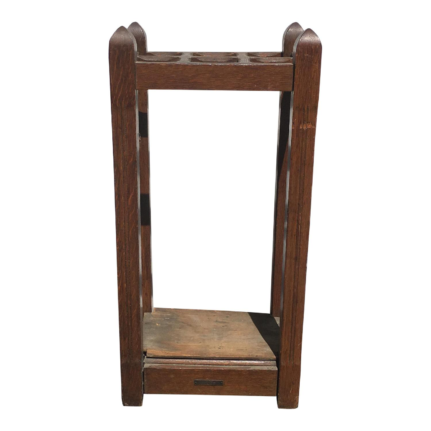 Original Antique Mission Oak Umbrella Stand - image-1