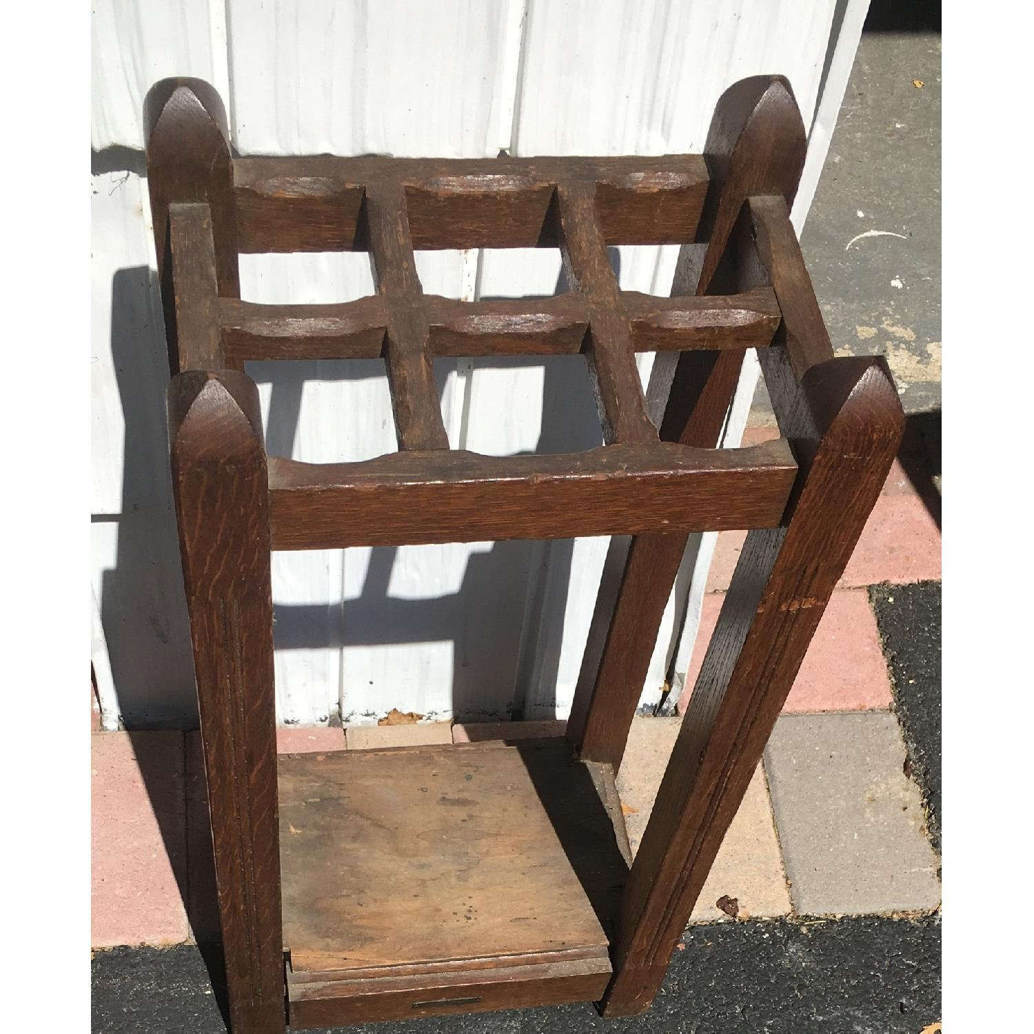 Original Antique Mission Oak Umbrella Stand - image-2