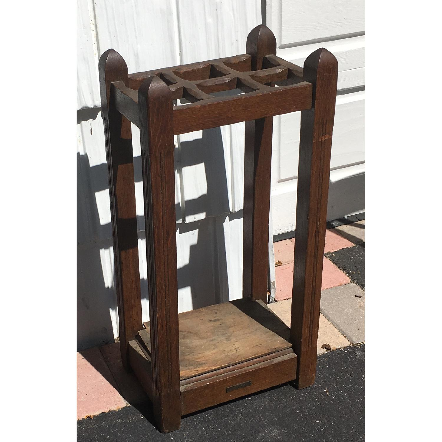 Original Antique Mission Oak Umbrella Stand - image-0