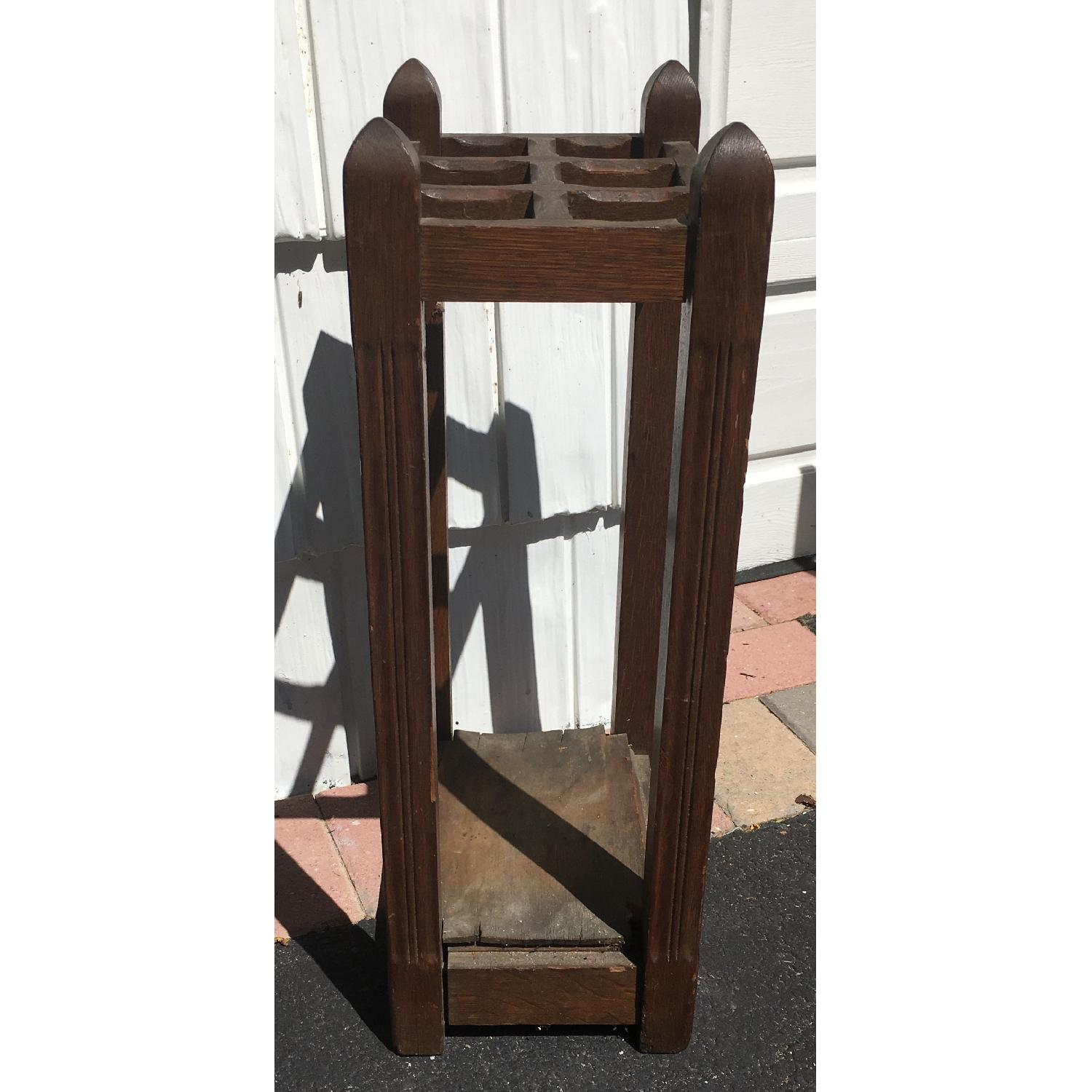 Original Antique Mission Oak Umbrella Stand - image-6