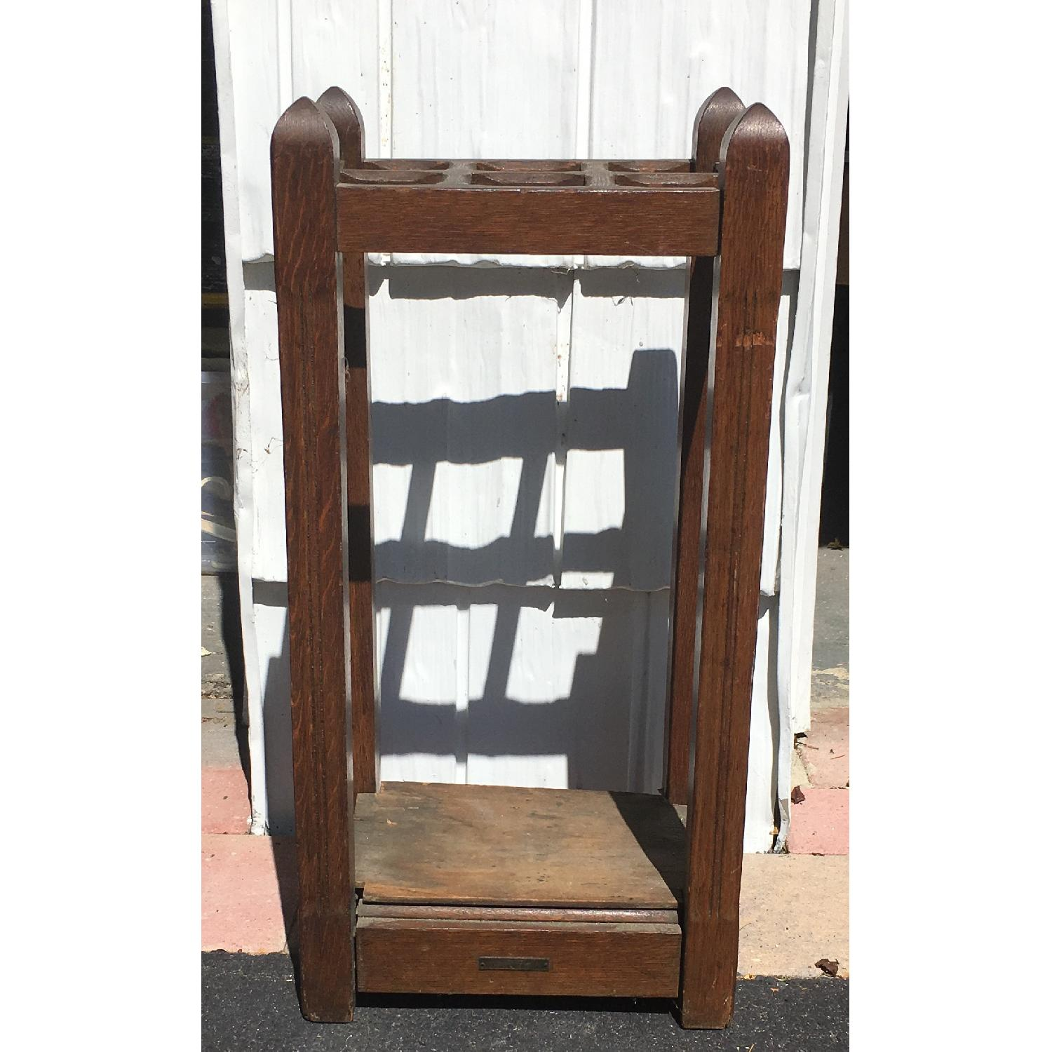 Original Antique Mission Oak Umbrella Stand - image-3
