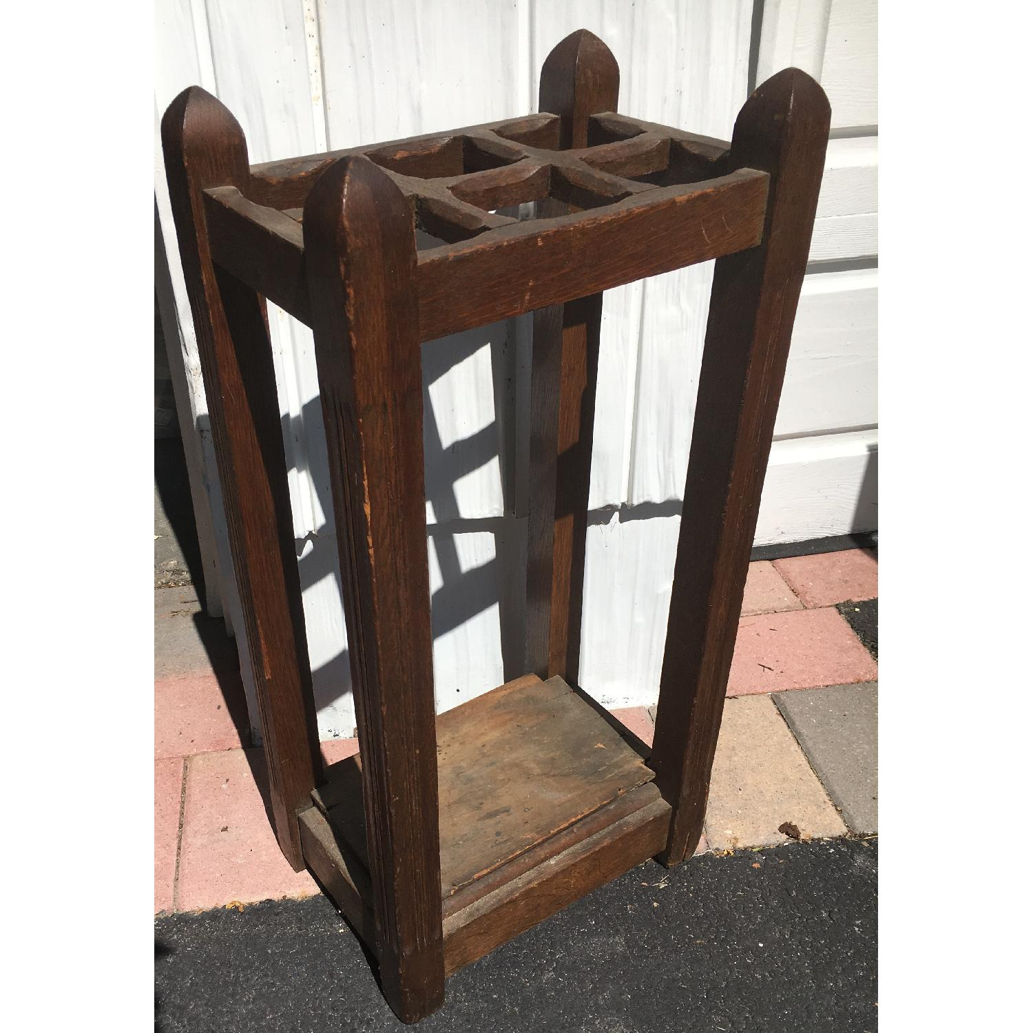 Original Antique Mission Oak Umbrella Stand - image-8