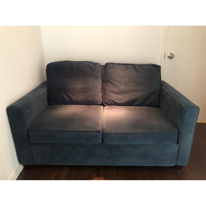 West Elm Twin Sleeper Sofa in Lagoon Performance Velvet - image-2