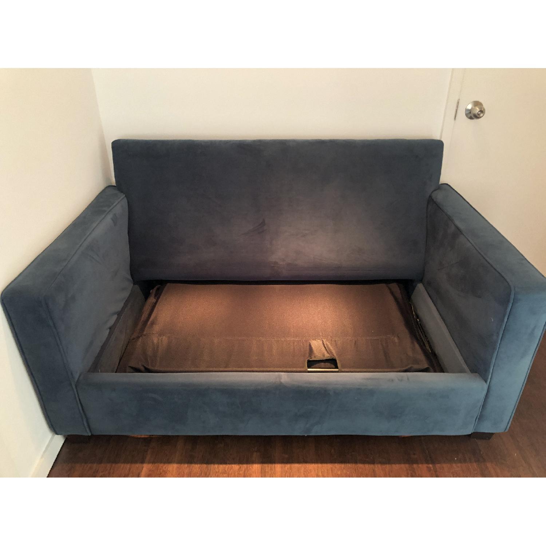 West Elm Twin Sleeper Sofa in Lagoon Performance Velvet - image-3