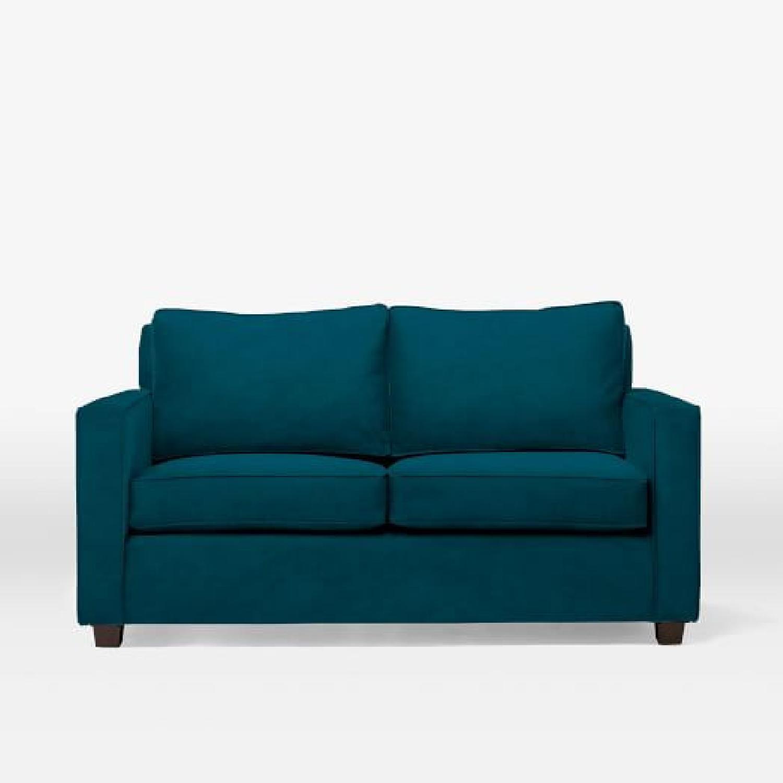 West Elm Twin Sleeper Sofa in Lagoon Performance Velvet - image-5