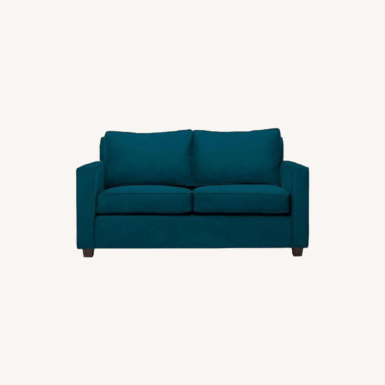 West Elm Twin Sleeper Sofa in Lagoon Performance Velvet - image-0