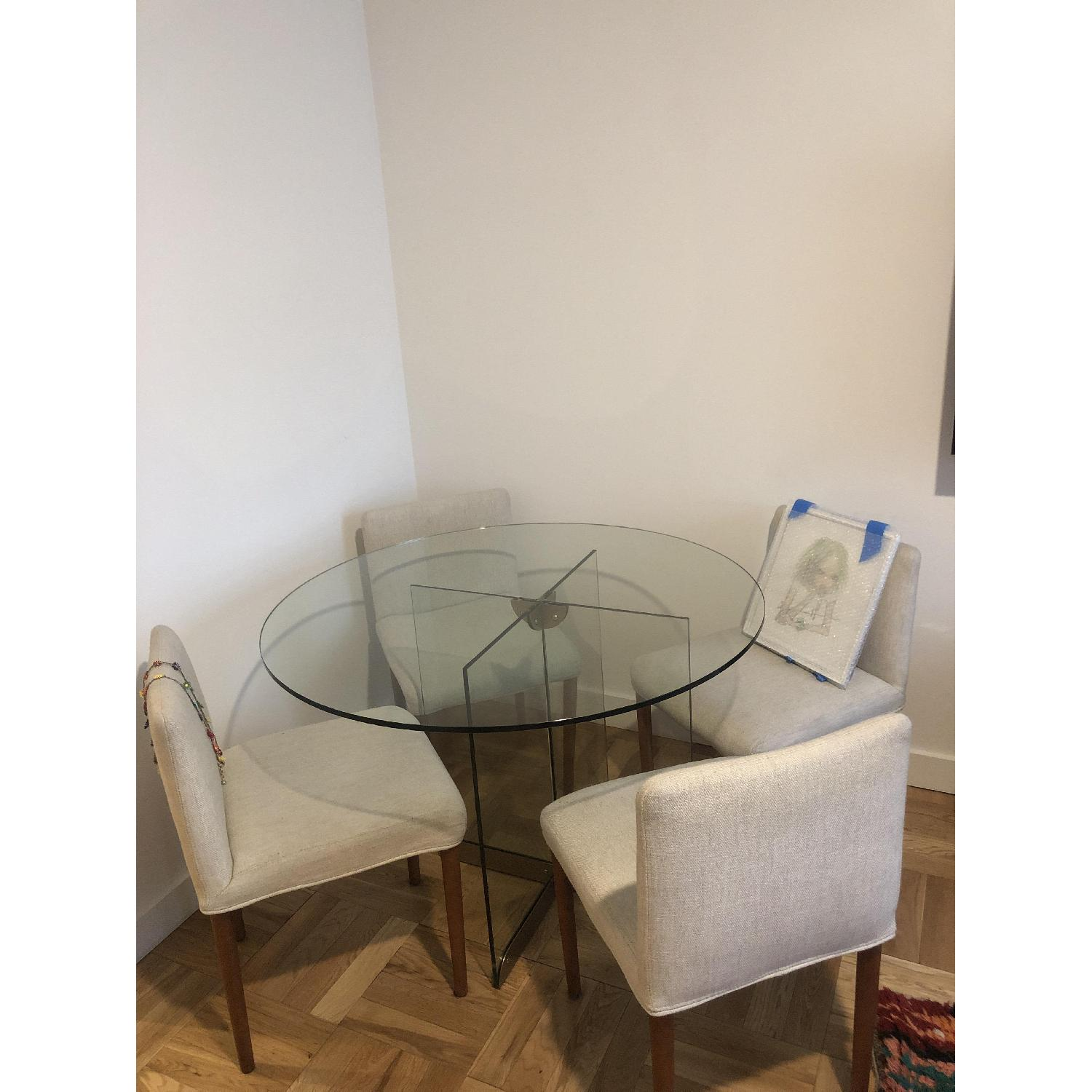 West Elm Glass Dining Table w/ 4 Wood & Fabric Chairs - image-1