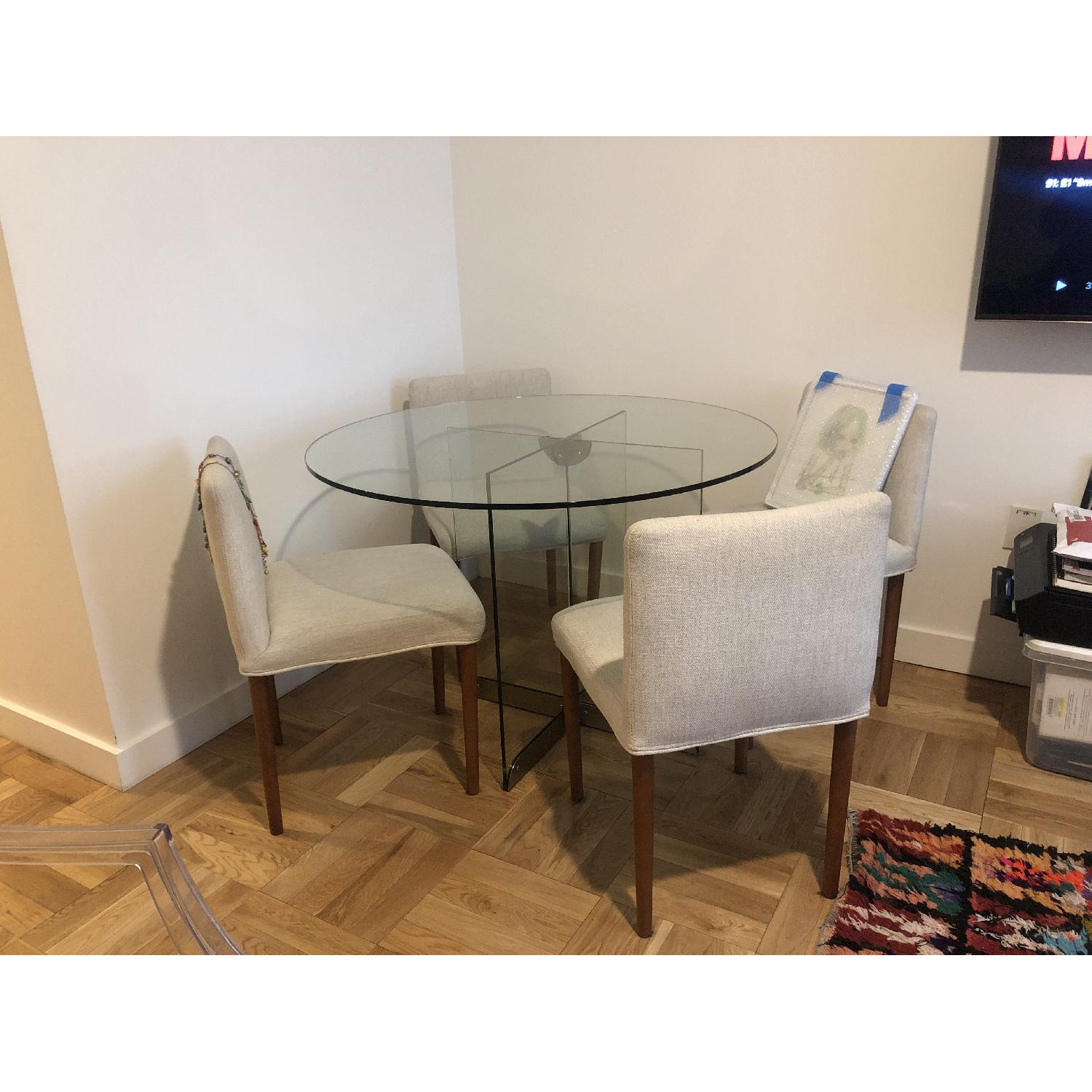 West Elm Glass Dining Table w/ 4 Wood & Fabric Chairs - image-2