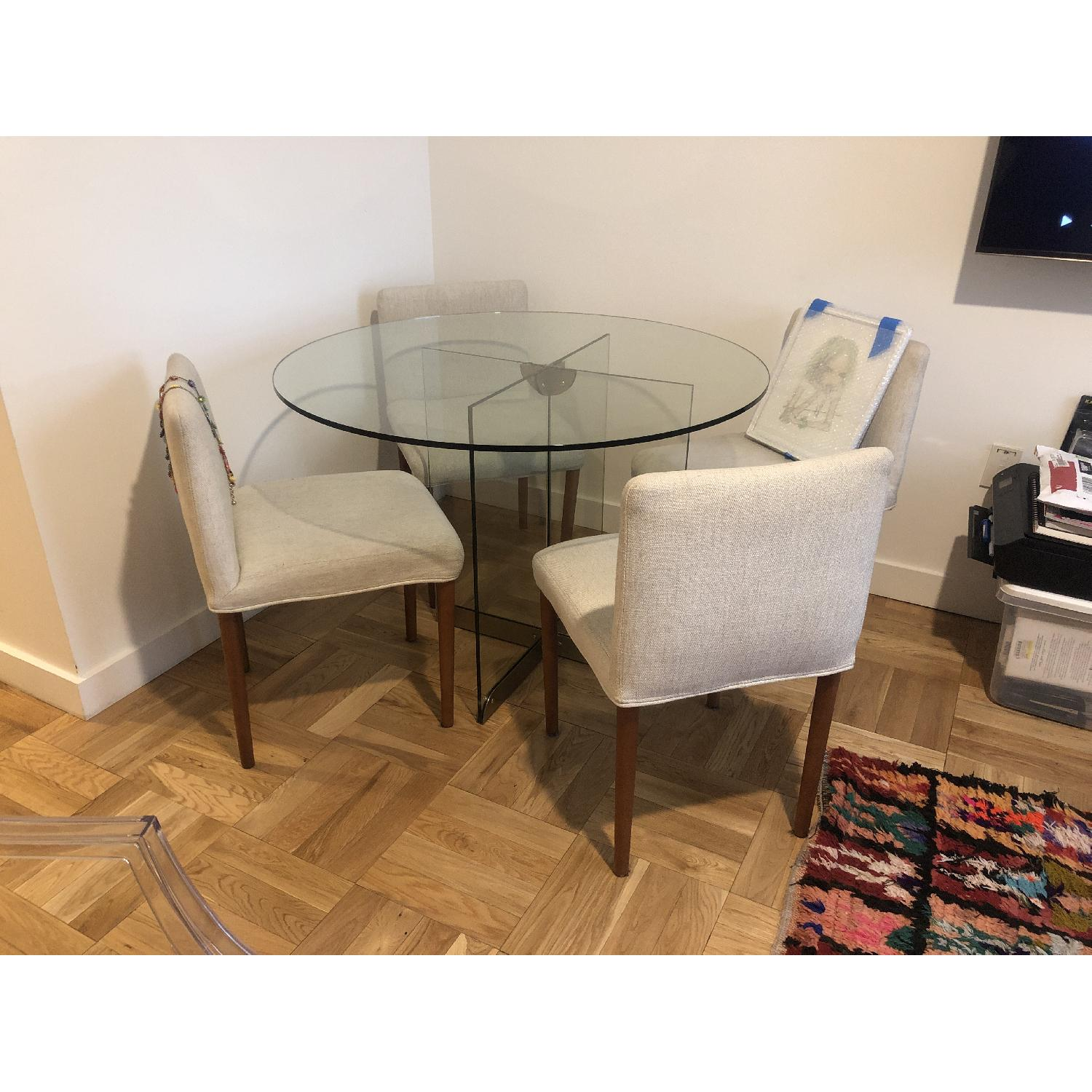 West Elm Glass Dining Table w/ 4 Wood & Fabric Chairs - image-3