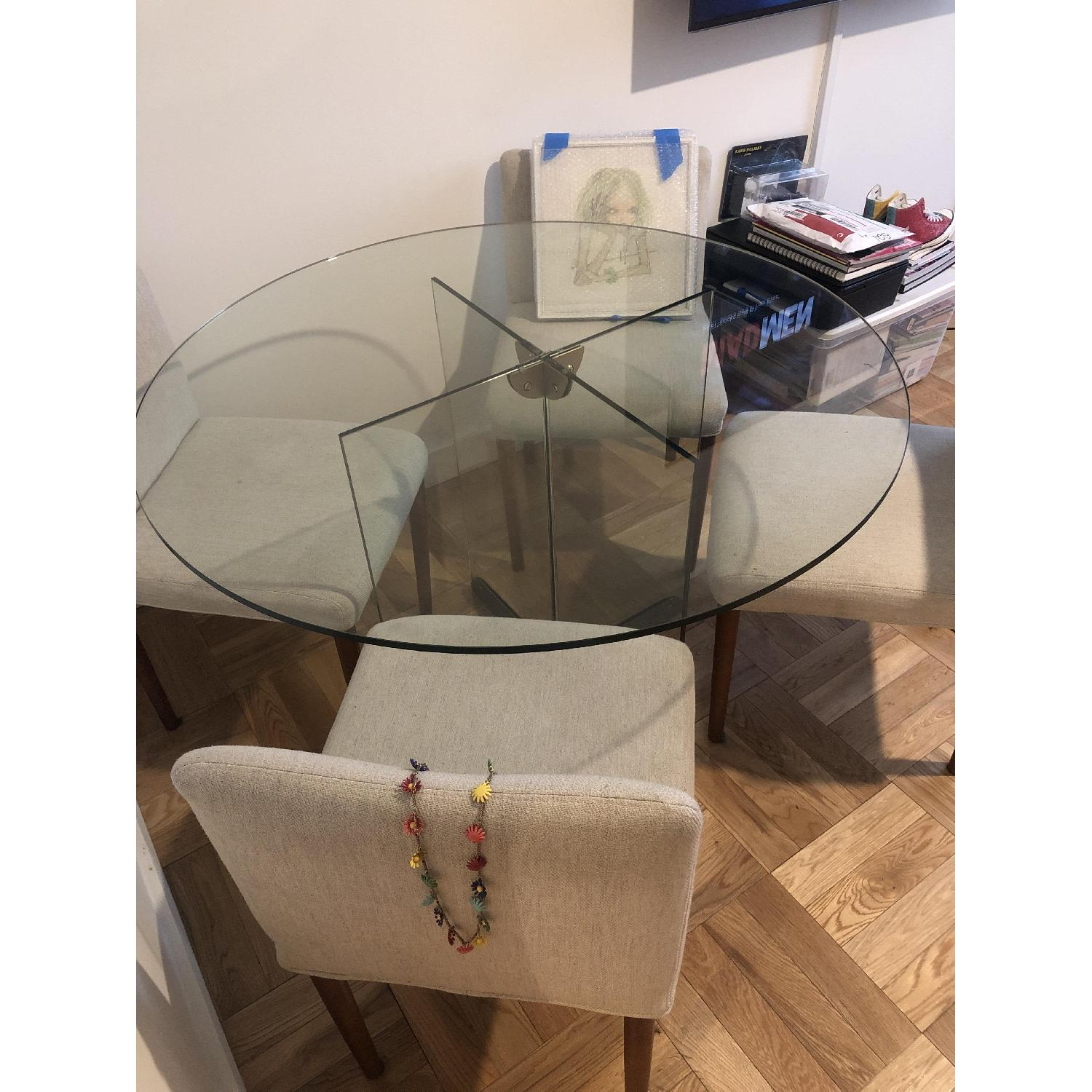 West Elm Glass Dining Table w/ 4 Wood & Fabric Chairs - image-4