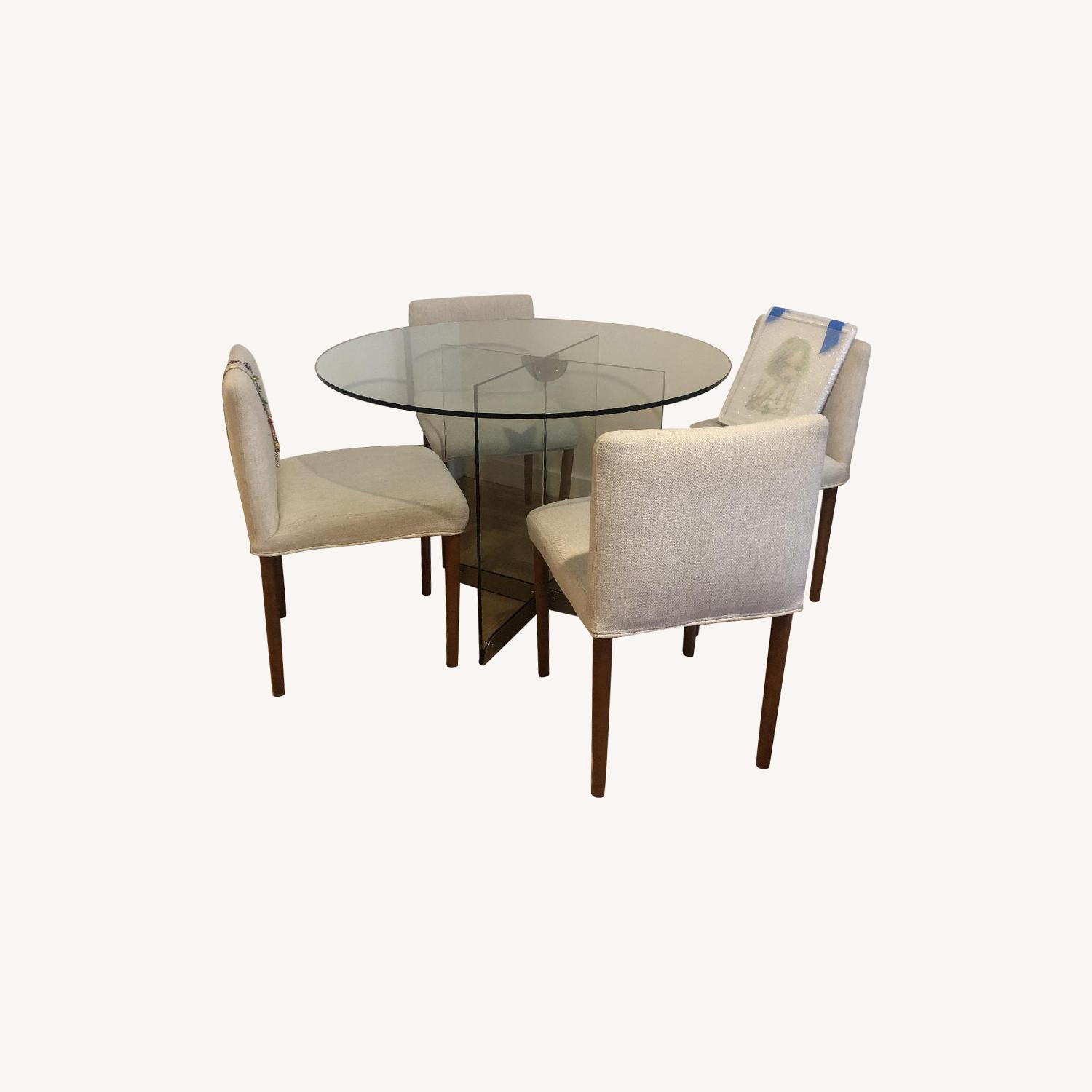 West Elm Glass Dining Table w/ 4 Wood & Fabric Chairs - image-0