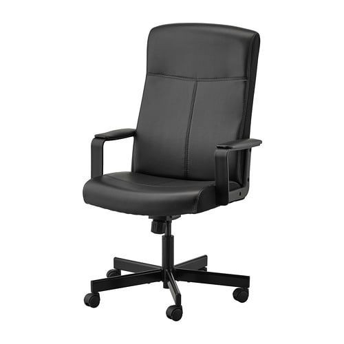 Ikea Black Faux Leather Office Chair