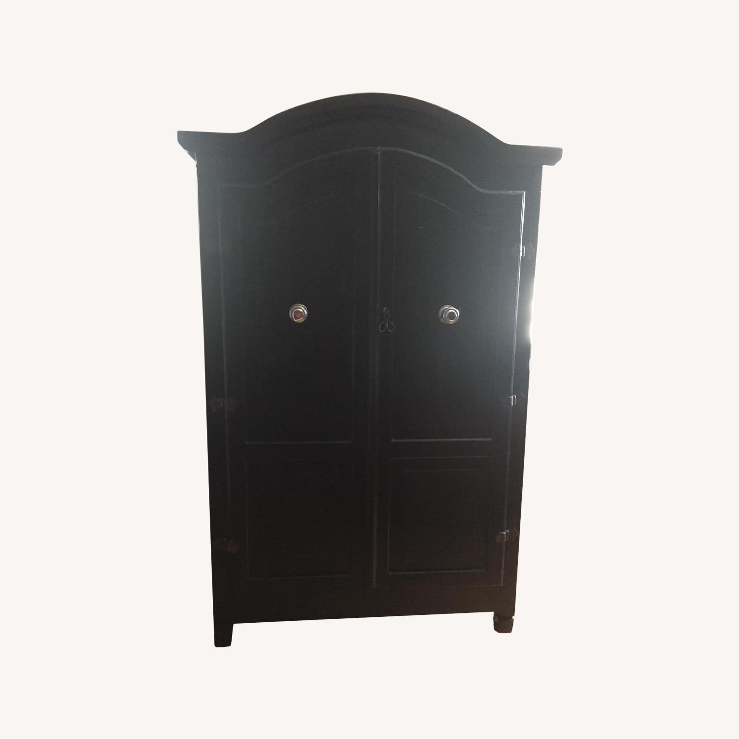 Pottery Barn Black Lacquer Armoire - image-0
